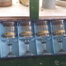 Antigüedades: PRECIOSO JUEGO DE 6 COPAS DE VINO, CON SERIGRAFIADO PLATEADO.. Lote 49141450