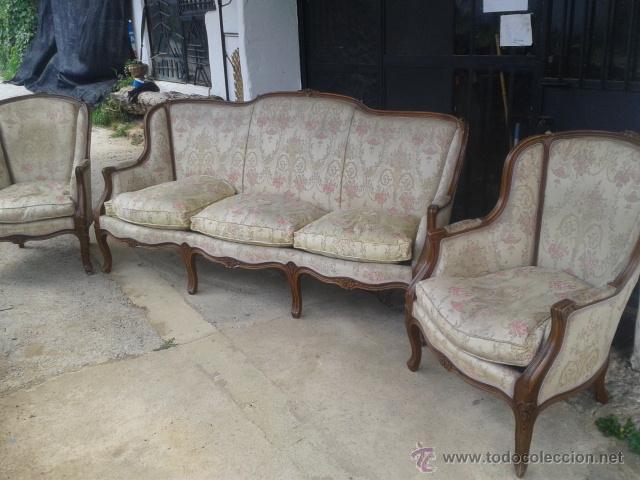 Conjunto tresillo sofa y butacones tipo isabeli comprar for Sofas antiguos
