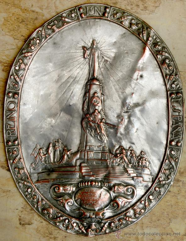 Antigüedades: ANTIGUA PLANCHA RELIGIOSA DE COBRE/LATÓN REPUJADO MONUMENTO SAGRADO CORAZÓN DE JESÚS REINO DE ESPAÑA - Foto 2 - 49162772