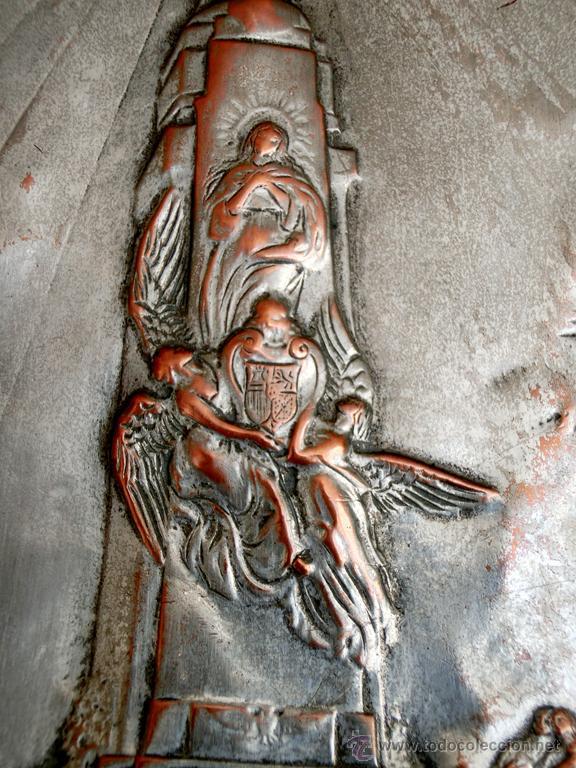 Antigüedades: ANTIGUA PLANCHA RELIGIOSA DE COBRE/LATÓN REPUJADO MONUMENTO SAGRADO CORAZÓN DE JESÚS REINO DE ESPAÑA - Foto 4 - 49162772