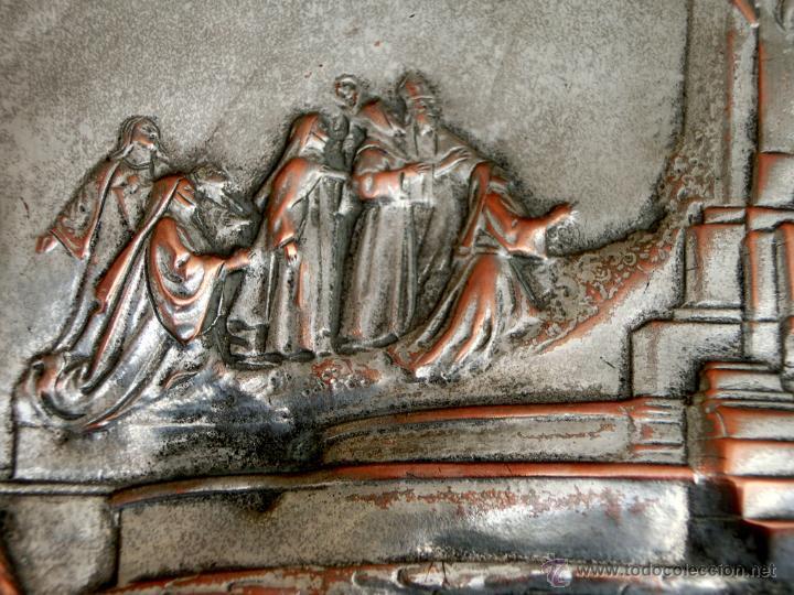 Antigüedades: ANTIGUA PLANCHA RELIGIOSA DE COBRE/LATÓN REPUJADO MONUMENTO SAGRADO CORAZÓN DE JESÚS REINO DE ESPAÑA - Foto 5 - 49162772