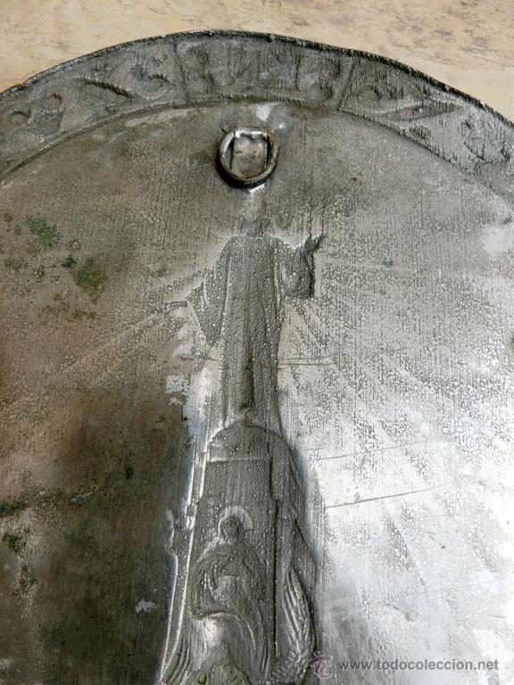 Antigüedades: ANTIGUA PLANCHA RELIGIOSA DE COBRE/LATÓN REPUJADO MONUMENTO SAGRADO CORAZÓN DE JESÚS REINO DE ESPAÑA - Foto 13 - 49162772