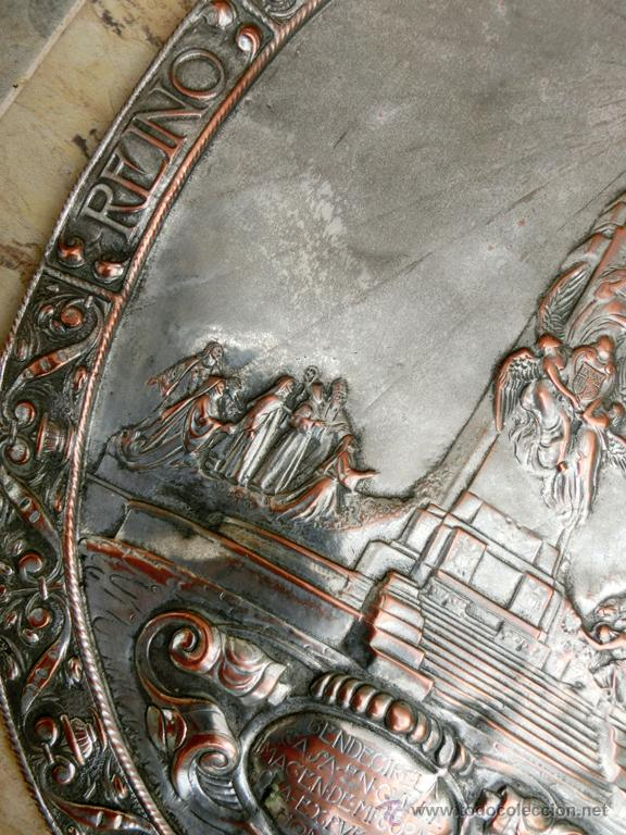 Antigüedades: ANTIGUA PLANCHA RELIGIOSA DE COBRE/LATÓN REPUJADO MONUMENTO SAGRADO CORAZÓN DE JESÚS REINO DE ESPAÑA - Foto 16 - 49162772