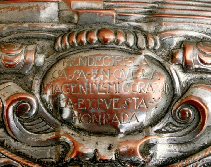 Antigüedades: ANTIGUA PLANCHA RELIGIOSA DE COBRE/LATÓN REPUJADO MONUMENTO SAGRADO CORAZÓN DE JESÚS REINO DE ESPAÑA - Foto 17 - 49162772