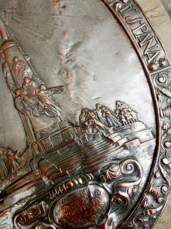 Antigüedades: ANTIGUA PLANCHA RELIGIOSA DE COBRE/LATÓN REPUJADO MONUMENTO SAGRADO CORAZÓN DE JESÚS REINO DE ESPAÑA - Foto 18 - 49162772