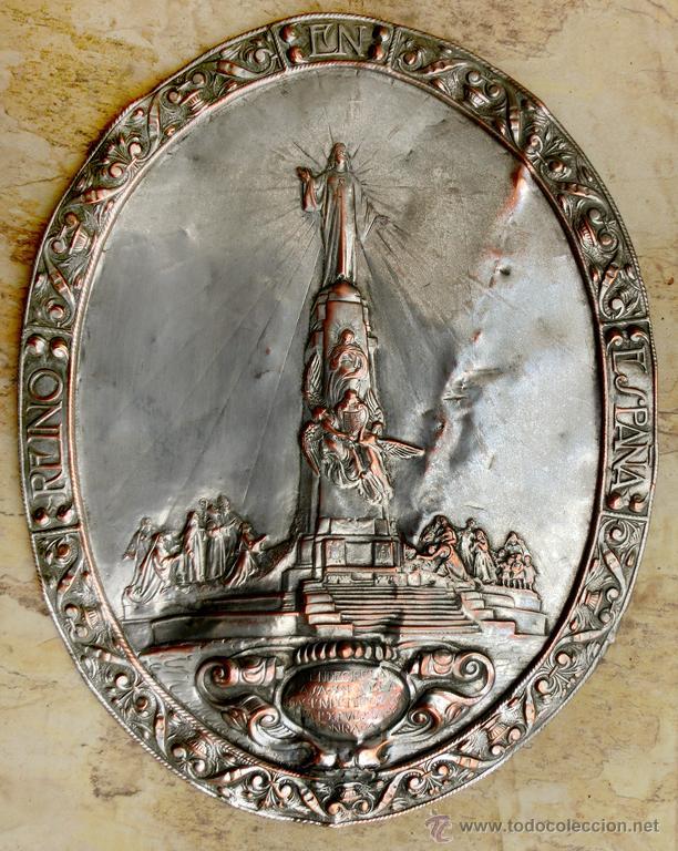 Antigüedades: ANTIGUA PLANCHA RELIGIOSA DE COBRE/LATÓN REPUJADO MONUMENTO SAGRADO CORAZÓN DE JESÚS REINO DE ESPAÑA - Foto 25 - 49162772