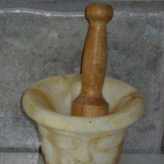 Antigüedades: ANTIGUO ALMIREZ,MORTERO DE MARMOL O ALABASTRO TALLADO.. Lote 49164177