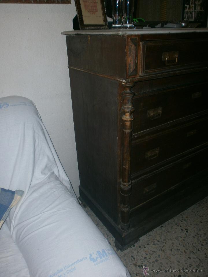 Comoda antigua cuatro cajones y tapa de marmol comprar for Comoda 50 cm ancho