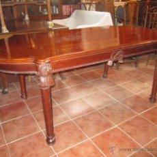 Antigüedades: MESA DE COMEDOR EN CAOBA CON MARQUETERIA Y LAZOS. Lote 26580331