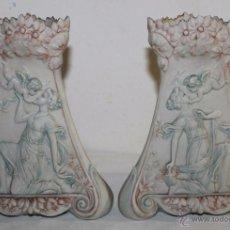 Antigüedades: PAREJA DE FLOREROS MODERNISTAS EN BISCUIT - FRANCIA - CIRCA 1920. Lote 49168270
