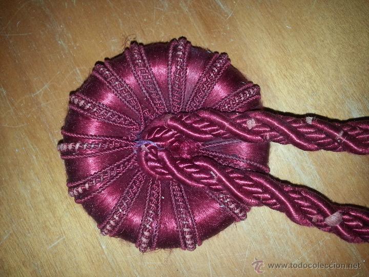 Antigüedades: gigantescas borlas seda granate ideal para recoger cortinas . siglo 19 ver fotos 47 cm aproximado - Foto 5 - 49173931