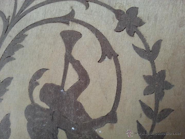 Antigüedades: precioso frontal taracea madera noble y caoba , incrustaciones taracea ideal para acabado de mueble - Foto 2 - 257319505