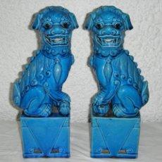 Antigüedades: BONITA PAREJA DE PEROS FOO. PORCELANA CHINA. NUMERADA. GRANDES (31 CM). Lote 49199121