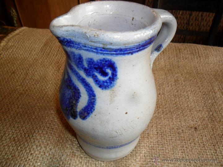 JARRA DE CERÁMICA - DECORADA EN TONO AZUL COBALTO - ANTIGUA (Antigüedades - Porcelanas y Cerámicas - Otras)