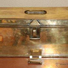 Antigüedades: ANTIGUA CAJA DOCUMENTOS LATON CON CANDADO SIN LLAVE SIGLO XIX. Lote 49209970