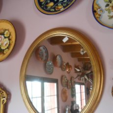 Antigüedades: ANTIGUO ESPEJO OVALADO DORADO. Lote 49217005