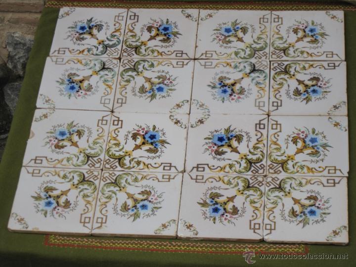 Lote de 16 azulejos antiguos de valencia mani comprar for Azulejos clasicos