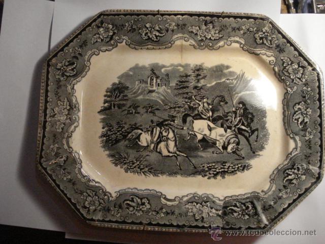 PRECIOSA FUENTE DE CARTAGENA - LA AMISTAD - AÑOS 1845/1898 - ESCENA TAURINA TOROS (Antigüedades - Porcelanas y Cerámicas - Cartagena)