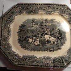 Antigüedades: PRECIOSA FUENTE DE CARTAGENA - LA AMISTAD - AÑOS 1845/1898 - ESCENA TAURINA TOROS. Lote 49235423