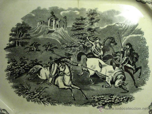 Antigüedades: PRECIOSA FUENTE DE CARTAGENA - LA AMISTAD - AÑOS 1845/1898 - ESCENA TAURINA TOROS - Foto 2 - 49235423