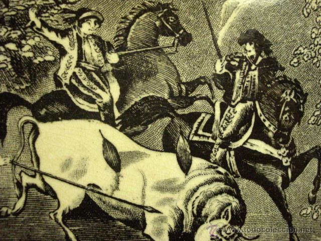 Antigüedades: PRECIOSA FUENTE DE CARTAGENA - LA AMISTAD - AÑOS 1845/1898 - ESCENA TAURINA TOROS - Foto 5 - 49235423