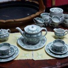 Antigüedades: JUEGO DE CAFÉ Y POSTRE DE 40 PIEZAS CERÁMICA ENGLAND WOODS. Lote 49258611