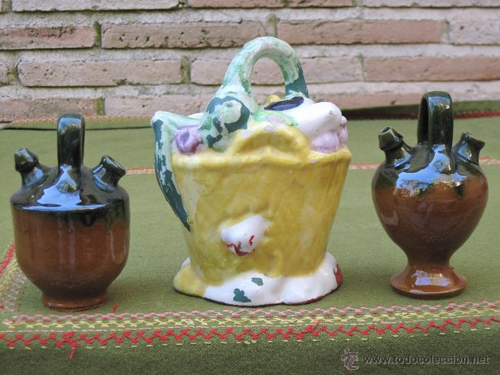 Antigüedades: LOTE DE 3 BOTIJOS PEQUEÑOS. MANISES Y JAEN. - Foto 3 - 49259349