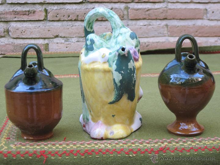 Antigüedades: LOTE DE 3 BOTIJOS PEQUEÑOS. MANISES Y JAEN. - Foto 4 - 49259349