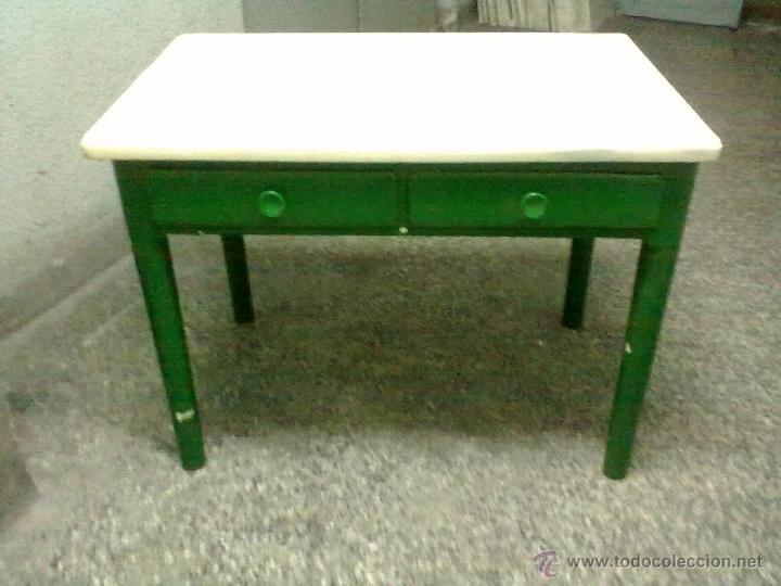 Mesa cocina dos cajones encimera pesado marmol comprar - Mesas antiguas de cocina ...