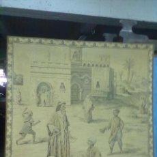 Antigüedades: DECOLORIDO TAPIZ PERFILADO ESCENA MERCADO ARABE ENMARCADO 129X129. Lote 49268771
