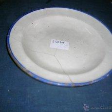 Antigüedades: PLATO CERÁMICA GRANDE CON LAÑAS. DIÁMETRO 31 CM. ALTO: 4 CM. ANTIGUO, CERÁMICA ESPAÑOLA. .. Lote 49275406