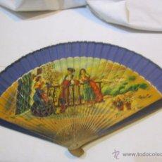 Antigüedades: ABANICO CON VARILLAS DE MADERA, PINTADO A MANO. VARILLAS: 23 CMS.. Lote 49283712