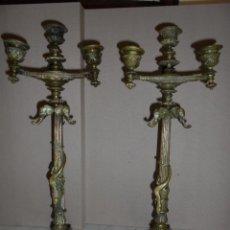 Antigüedades: (M) ANTIGUA PAREJA DE CANDELEROS DE BRONCE S.XIX TEMA ANIMAL Y FLORAL . CANDELEROS DE TRES. Lote 49290661