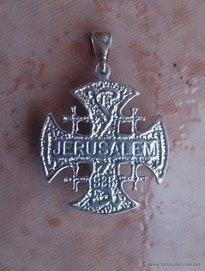 Antigüedades: Cruz antigua de Jerusalem en plata de ley 925 . - Foto 6 - 49290958