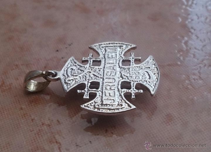 Antigüedades: Cruz antigua de Jerusalem en plata de ley 925 . - Foto 7 - 49290958