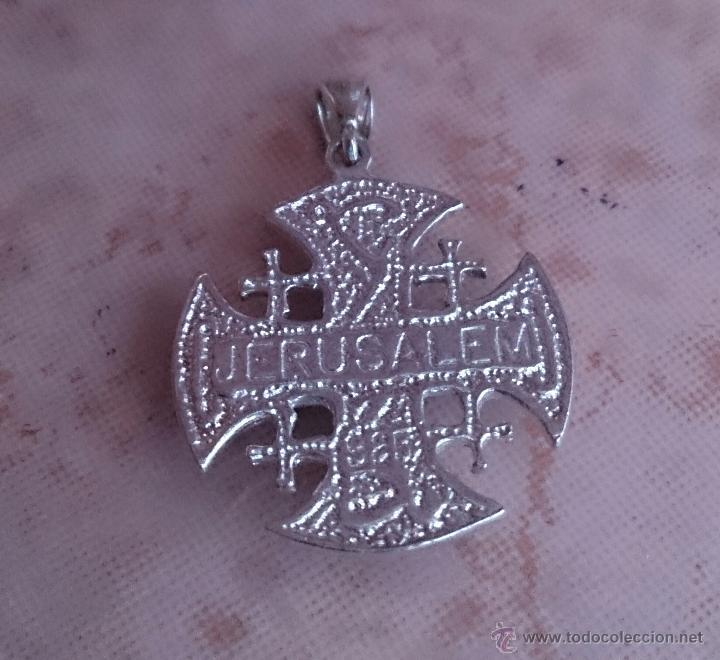 Antigüedades: Cruz antigua de Jerusalem en plata de ley 925 . - Foto 8 - 49290958