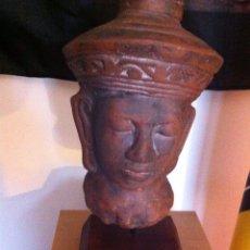 Antigüedades: CABEZA DE BUDA EN TERRACOTA. Lote 49291030