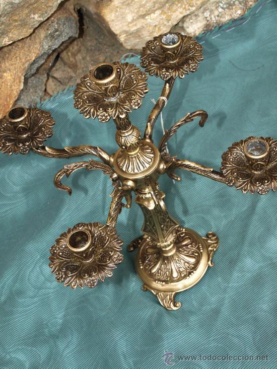 Antigüedades: Candelero candelabro bronce. C 1940. españa - Foto 2 - 49292230