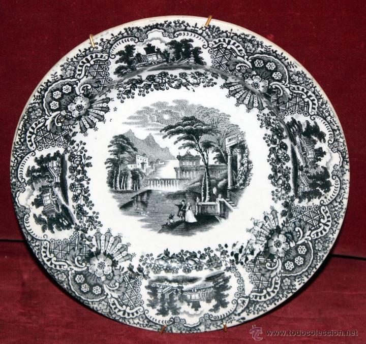 PLATO EN CERÁMICA DE (PICKMAN) DE PRINCIPIOS DEL SIGLO XX (Antigüedades - Porcelanas y Cerámicas - La Cartuja Pickman)