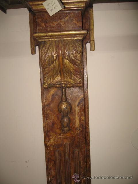 Antigüedades: Antigua Consola de madera tallada y dorada con tapa de marmol altura 97 cm. ancho 116 x 27 cm. - Foto 6 - 49307609