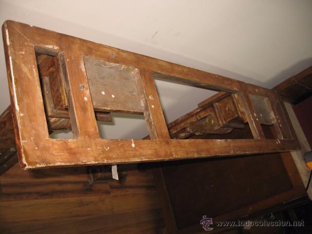 Antigüedades: Antigua Consola de madera tallada y dorada con tapa de marmol altura 97 cm. ancho 116 x 27 cm. - Foto 7 - 49307609