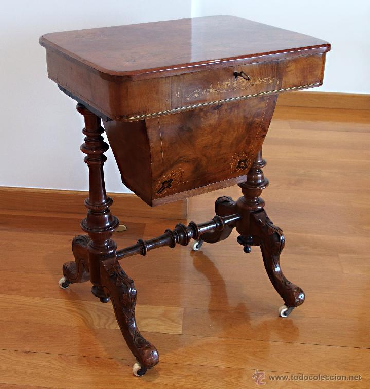 Costurero ingl s victoriano en madera de ra z d comprar for Muebles auxiliares clasicos madera
