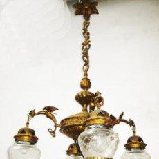 Antigüedades: EXCEPCIONAL LAMPARA ANTIGUA IMPERIO EN BRONCE AL ORO Y TULIPAS CRISTAL CON CORONA PP XX. Lote 49333839