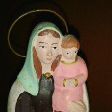 Antigüedades: ANTIGUA IMAGEN VIRGEN CON NIÑO JESÚS EN ESTUCO. Lote 49334670