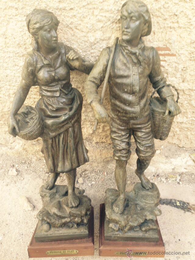 PAREJAS DE FIGURAS CALAMINA (Antigüedades - Hogar y Decoración - Figuras Antiguas)