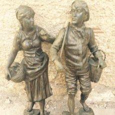 Antigüedades: PAREJAS DE FIGURAS CALAMINA. Lote 49344390