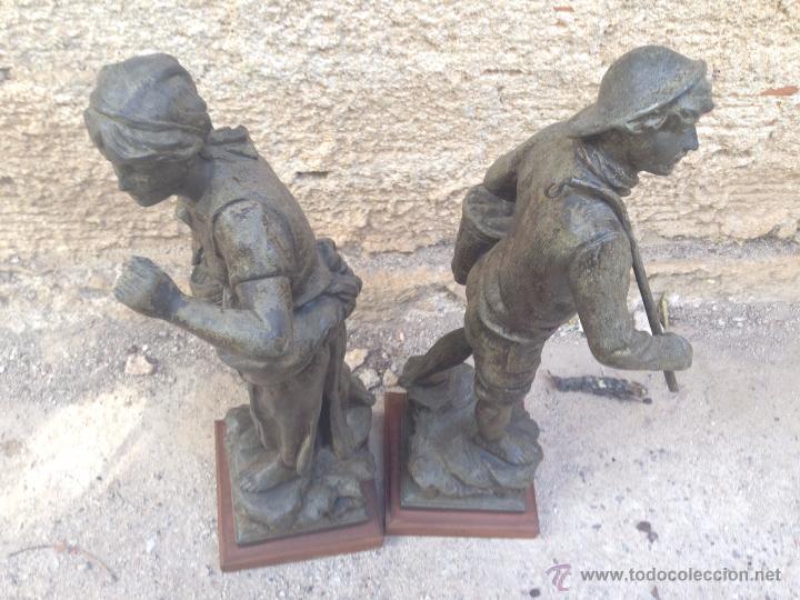 Antigüedades: PAREJAS DE FIGURAS CALAMINA - Foto 2 - 49344390