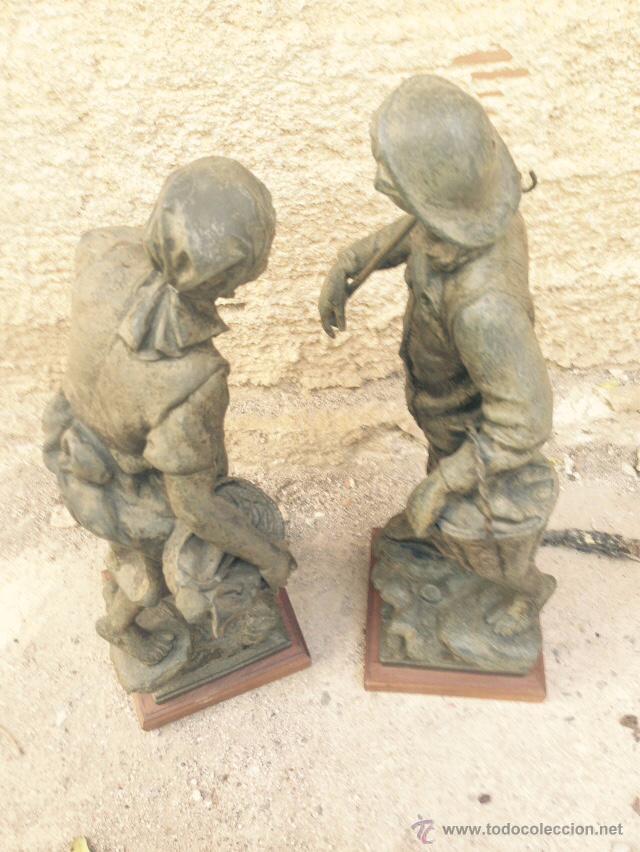 Antigüedades: PAREJAS DE FIGURAS CALAMINA - Foto 3 - 49344390