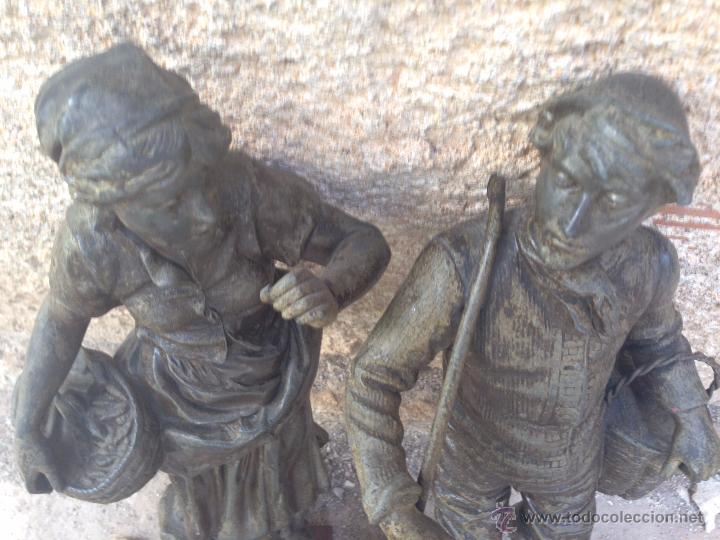 Antigüedades: PAREJAS DE FIGURAS CALAMINA - Foto 5 - 49344390