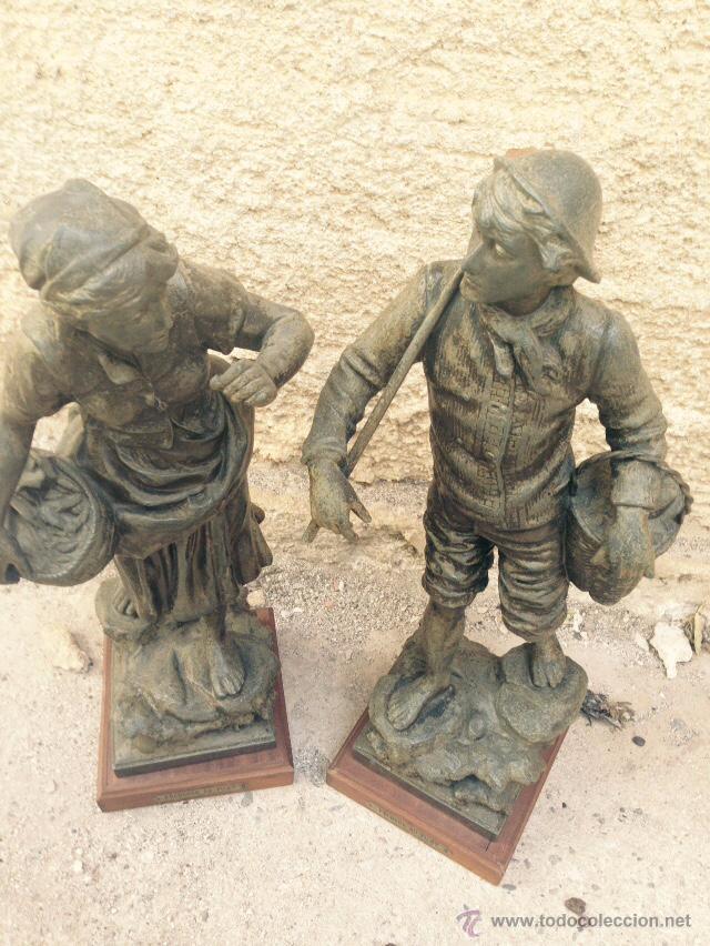 Antigüedades: PAREJAS DE FIGURAS CALAMINA - Foto 6 - 49344390
